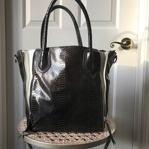 Handbags - CACHE Handbag black and brown faux snakeskin